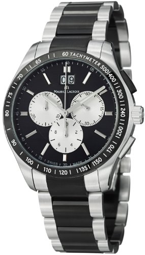 Maurice Lacroix Miros Men's Stainless Steel Black PVD Chronograph Watch MI1028-SS002-331