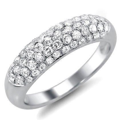.90Ct Round Diamond Pave Wedding Band Ring 14K White Gold