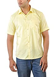 CREEDS Men's Casual Shirt (Oxford Yellow_Xl, Yellow, Xl)