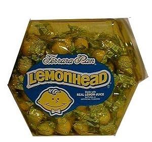Lemonhad Jar containing 3 lbs/ (15.5 oz) of Lemonheads (Lemon Heads) Jaw Breaker sized candies
