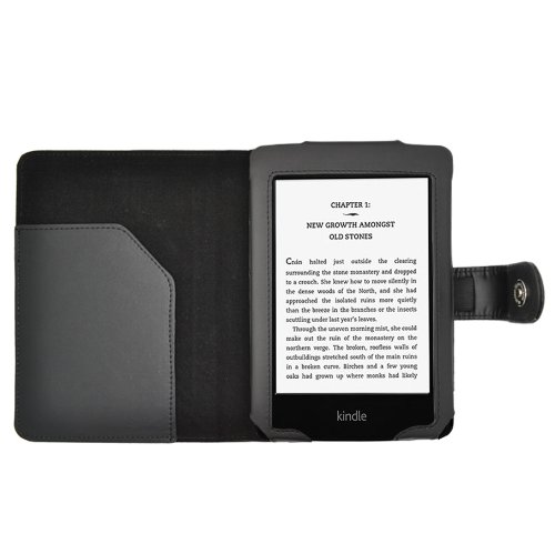 JKase(TM) Premium Quality Custom Fit Folio Faux Leather Case Cover for Kindle Paperwhite Display Wifi + 3G Model (Black)