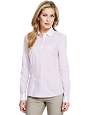 M&S Collection No Peep™ Peter Pan Collar Shirt