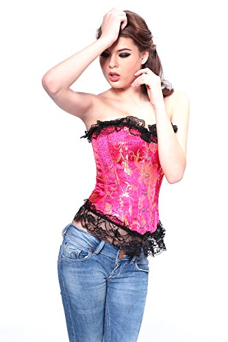 Angel&Me Sexy Large Size Hot Pink Spandex satin Golden Pattern Black Lace Corset Bustiers