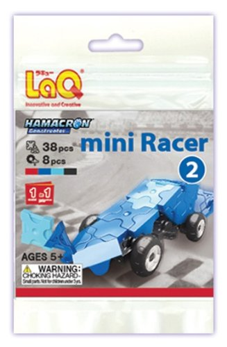 LaQ Hamacron Mini Racer 2 Car Model Building Kit, Blue