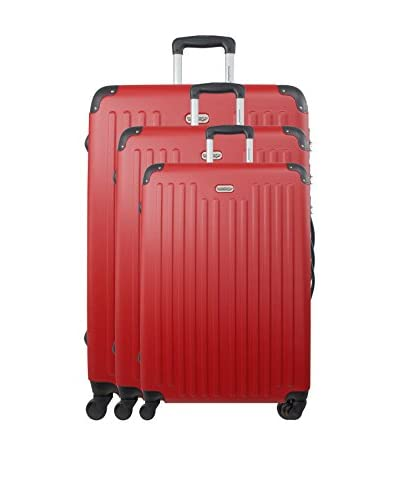 AMERICAN TRAVEL Set de 3 trolleys rígidos Little Italy Rojo