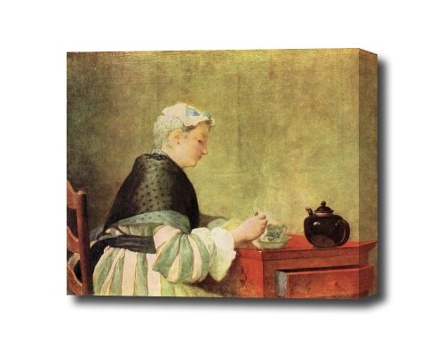 Tea Drinker By Jean Chardin Canvas Art Print, 14 X 11 Ready To Hang