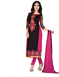 The Fashion World Black Coloured Embroidered Work Semi Stitched Salwar Kameez Crafted On 60 Grm Cotton Fabric