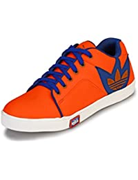 Knoos Men's Synthetic Leather Orange Sneakers (CR-7030-ORG)