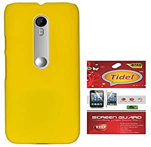 Tidel Yellow Rubberised Slim Hard Back Cover Case For Motorola Moto G 3rd Generation With Tidel SCREEN GUARD