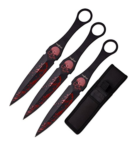 """Perfect Point Throwing Knife Set Overall Skull (7""""), 3 Piece"""