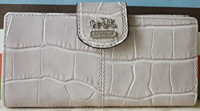 COACH Madison Embossed Crocodile Skinny Wallet in Taupe / Silver 46632