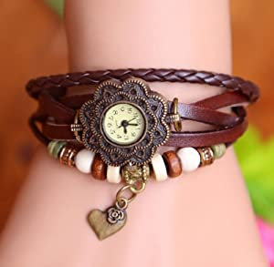 Towallmark 1PC Coffee Fashion Weave Heart Pendant Leather Bracelet Wrist Watch