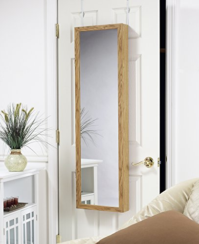 plaza astoria over the door wall mount jewelry armoire with full length dressing mirror and. Black Bedroom Furniture Sets. Home Design Ideas
