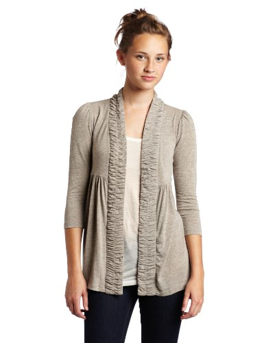 My Michelle Juniors Cozy 3/4 Sleeve Cardigan, Brown, Medium