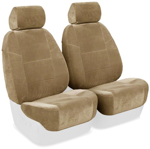 Coverking Custom Fit Front 50/50 Bucket Seat Cover For Select Volvo S70 Models - Velour (Tan) front-1069534