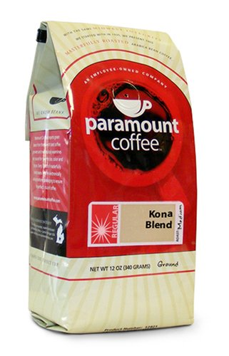 Paramount Coffee, Kona Blend Ground Coffee, 12-Ounce Bags (Pack of 3)