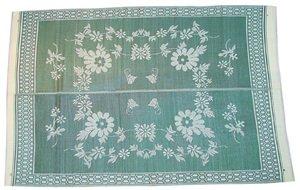 Patio Mats 010 9 x 12 Green Floral Pattern Reversible Patio MatB0000ZREGI : image