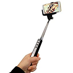 Selfie Stick, Scalable Bluetooth Monopod Extendable 235 - 1005mm with Adjustable Phone Holder, Color Black, Supports Android & IOS Cell Phone