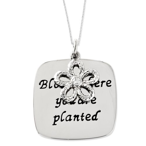 Sterling Silver Bloom Where You Are Planted Sentimental Expressions Necklace