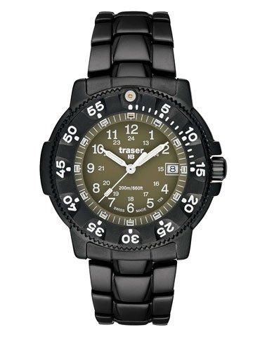 Traser P6507.A80.3R.17 Men'S Black Titanium Olive Dial Quartz Watch