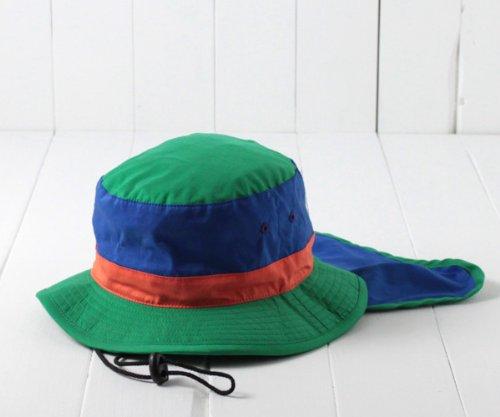 (グリンバディ) grin buddy 日よけカバー付きアドベンチャーハット[キッズ] GF-8236 グリーン 52cm インプルーブ 撥水加工 あご紐 ネックガード 日除けカバー つば広ハット つば広帽子 折りたたみ 紫外線対策 UVケア 男の子 女の子 子供 帽子