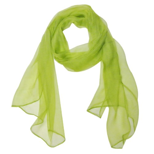 Wrapables Solid Color 100% Silk Long Scarf, Apple Green (Daphne Costume)