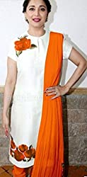 khazanakart fashion women exclusive & designer orange cotton latest bollywood & party wear dress materials