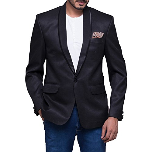 Azio Design Solid Black Shawl collar Blazer For Men