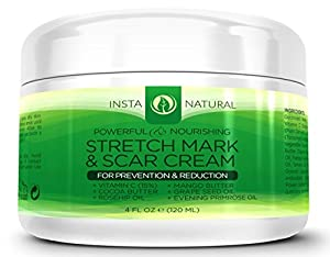 InstaNatural Stretch Mark Cream - Reduces Old Stretch Marks & Prevents New Ones - Perfect for Pregnancy, After Birth, And Men - 4 oz