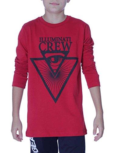 T-Shirt Illuminati Crew M/L Bambini ICJ013 Made in Italy Rosso, anni16-h160 MainApps
