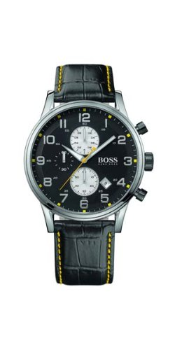 Hugo Boss 1512632 Men's Quartz Yellow Accents Leather Strap Black Dial Chronograph Watch