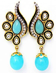 EthniqChiq Gold Plated Cubic Zirconia Studded Dangle  Drop Earring For Women Sky Blue Gold  Clear
