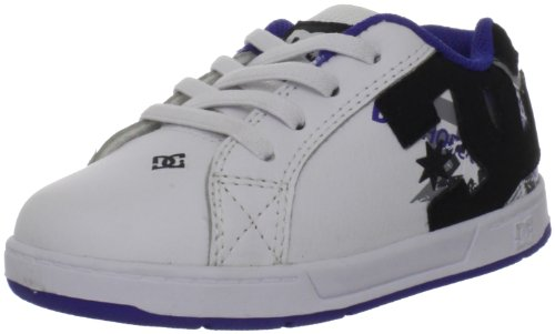 Dc Kids Court Graffik Elastic Sneaker (Toddler),White/Grey/Blue,10 W Us Toddler