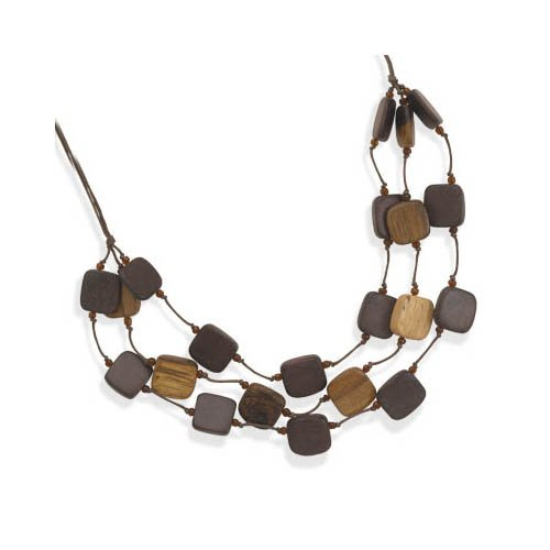 CleverSilver's Graduated Wood Bead Fashion Necklace