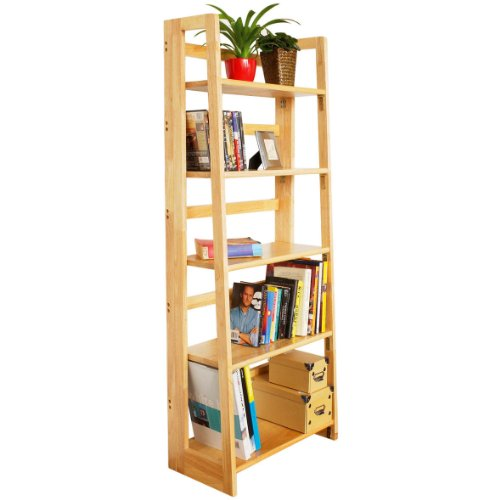 Wooden Bookcase - Oak Finish - 5 Foldable Shelves - Solid Build - Modern Design