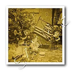 Girl and American Flag Vintage Christmas Antiqued tone - 10x10 Iron On Heat Transfer For White Material