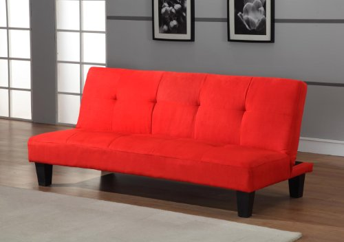 Cheap Red Microfiber With Adjustable Back Klik Klak Sofa Futon Bed Sleeper