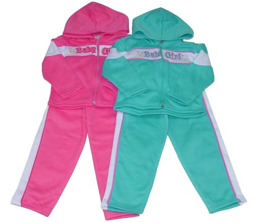 "Buy Girls' Hooded Fleece Set with ""Baby Girl"" Embroidery"
