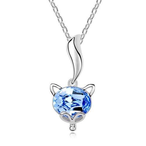 Mqueen Aquamarine Cute Fox Pendant Necklace front-152989