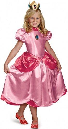 Costume da giovane principessa Peach deluxe bambina 4 a 6 anni