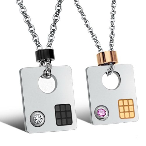 Opk Jewellery Necklaces Stainless Steel Crystal Cubic Zirconia Square Neckwear Chains Pendants Necklets