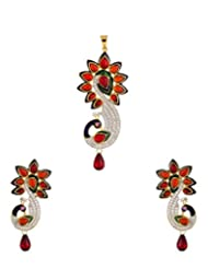 Voylla Peacock Pendant Set Without Chain With CZ, Red Color Stones And Enamel Work - B00P7T3P9C