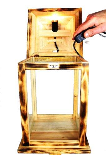 Große KLG-OFOS-GEFLAMMT Holzlaterne, mit Beleuchtung 220V, Laterne aus Holz mit Holz - Deko aus Holz gebrannt geflammt schwarz-natur Deko Glasvitrine, mit Glasscheibe (4 Scheiben Echtglas)