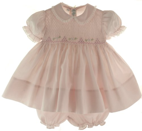 Feltman Brothers Baby Girls Pink Smocked Dress With Bloomers 3M front-1030785