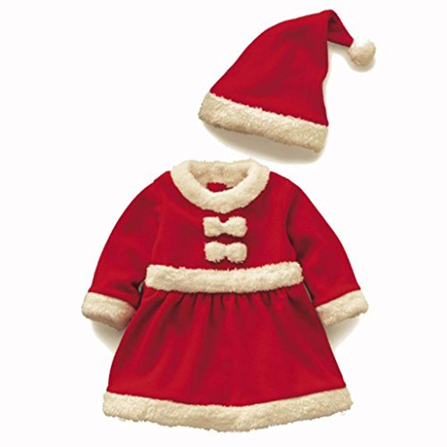 Girls Kids Red Santa Claus Christmas Costume Dress+Hat 160cm