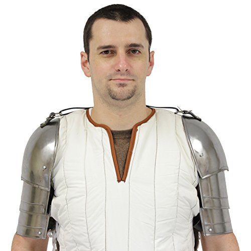 Merc Spaulders Medieval Armor Heavy Duty Gothic Steel Plate Armor Pauldrons (Mens Templar Knight Costume)