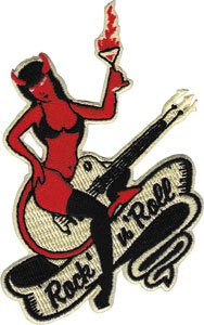 Novelty Iron on - Angels & Devils Devil Girl on Guitar Sexy Woman Rock 'N Roll Logo Patch