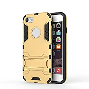 Ceres Rugged Terrain Armor Protective Shockproof Kick Stand Back Cover Case for Apple Iphone 7 4.7 Inch (Gold)