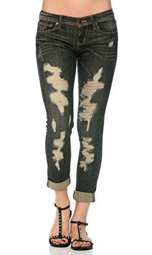 Destructed Boyfriend Jeans in Dark Wash