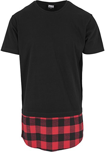 Urban Classics Herren T-Shirt Shaped Flanell Bottom Tee, Schwarz/Red, L, TB1098-00702-0042